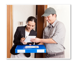 Man deliverying package to business woman